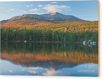 Katahdin Glow Wood Print by Susan Cole Kelly