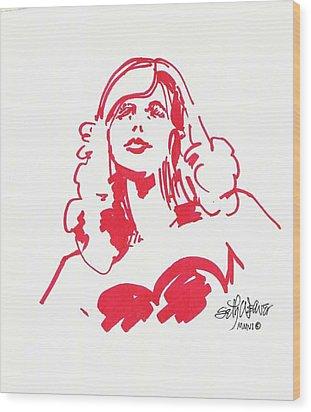 Kate Moss Wood Print by Seth Weaver