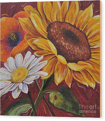 Kathrin's Flowers Wood Print by Lisa Fiedler Jaworski