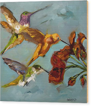 Kathy's Humming Birds Wood Print