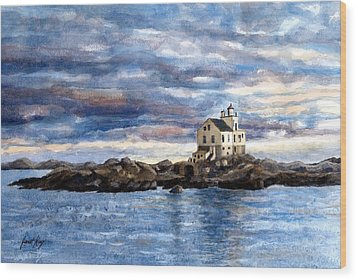 Katland Lighthouse Wood Print by Janet King