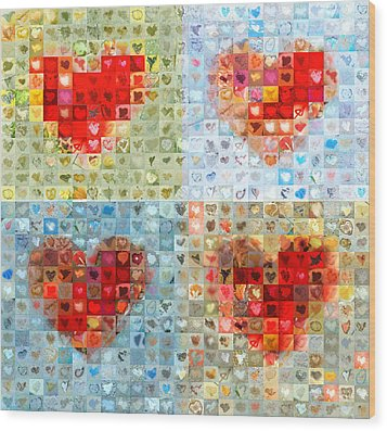 Katrina's Heart Wall - Custom Design Created For Extreme Makeover Home Edition On Abc Wood Print by Boy Sees Hearts