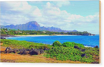 Kauai Beach Wood Print by Angela Annas