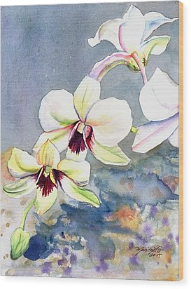 Wood Print featuring the painting Kauai Orchid Festival by Marionette Taboniar