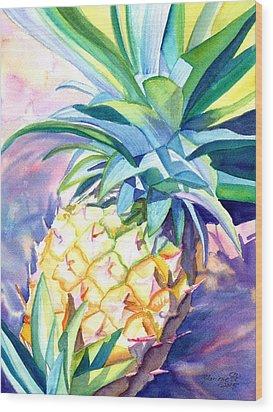 Kauai Pineapple 3 Wood Print by Marionette Taboniar