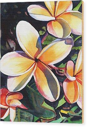 Kauai Rainbow Plumeria Wood Print