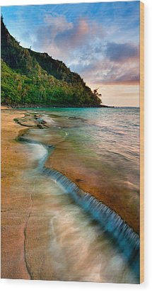 Kauai Shore Wood Print by Monica and Michael Sweet