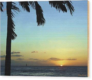 Kauai Sunset Wood Print by Ellen Henneke