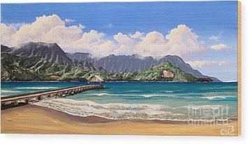 Wood Print featuring the painting Kauai Surf Paradise by Chad Berglund