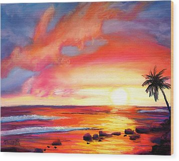Wood Print featuring the painting Kauai West Side Sunset by Marionette Taboniar