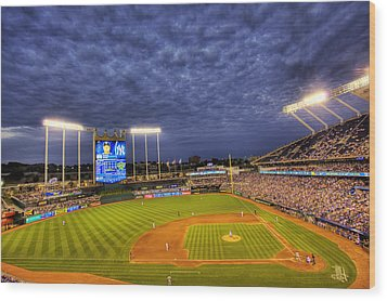 Kauffman Stadium Twilight Wood Print by Shawn Everhart