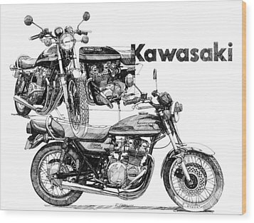 Kawasaki 900 Wood Print by Ron Patterson