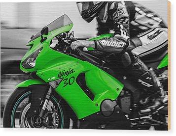 Kawasaki Ninja Zx-6r Wood Print by Andrea Mazzocchetti