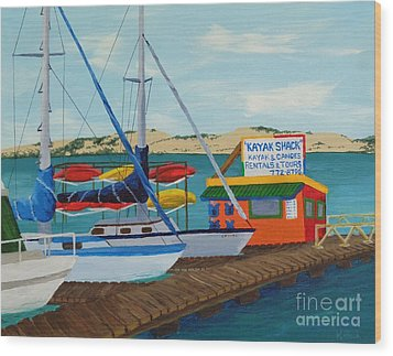Wood Print featuring the painting Kayak Shack Morro Bay California by Katherine Young-Beck