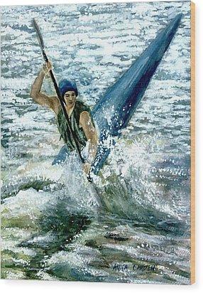 Kayaker Wood Print by Anita Carden