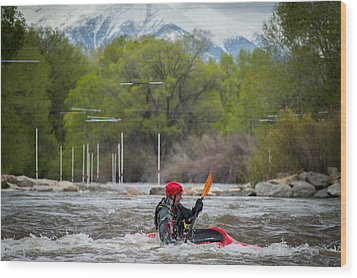 Kayaker On The Arkansas Wood Print