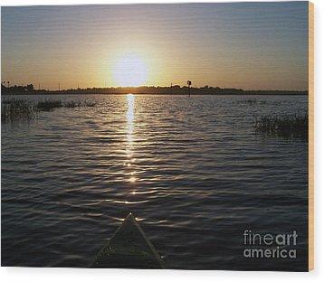 Kayaking Dawn Wood Print