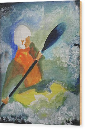 Wood Print featuring the painting Kayaking by Sandy McIntire