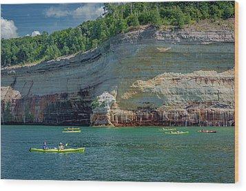 Kayaking The Pictured Rocks Wood Print