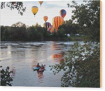 Kayaks And Balloons Wood Print
