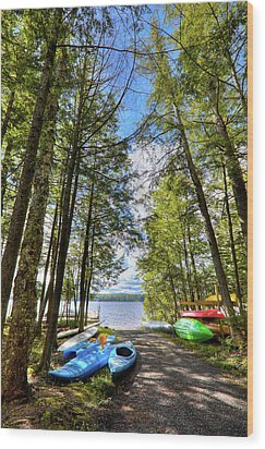 Wood Print featuring the photograph Kayaks At Palmer Point by David Patterson
