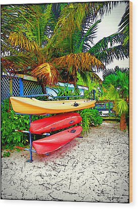 Kayaks In Paradise Wood Print by Joan  Minchak