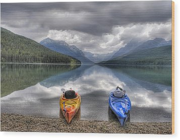 Kayaks On Bowman Lake Wood Print by Donna Caplinger