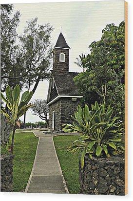 Keawala'i Congregational Church Wood Print by Jo Sheehan