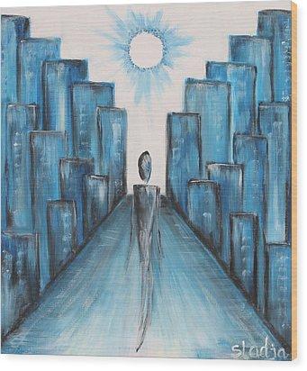 Wood Print featuring the painting Keep Walking by Sladjana Lazarevic