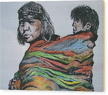 Wood Print featuring the drawing Keeping Warm by Leslie Manley