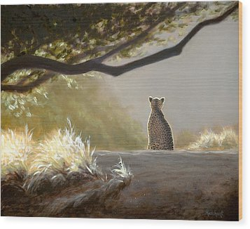 Keeping Watch - Cheetah Wood Print
