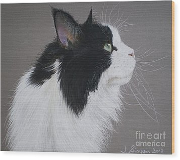 Keeps - Maine Coon Wood Print by Joanne Simpson