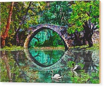Kefalos Bridge Cyprus Wood Print by Michele Avanti