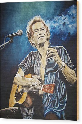 Wood Print featuring the painting Keith Richards by Lance Gebhardt
