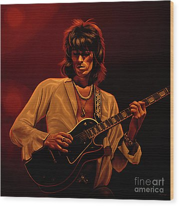 Keith Richards Mixed Media Wood Print by Paul Meijering
