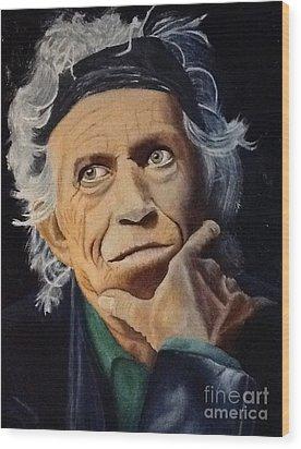 Keith Richards Portrait Wood Print