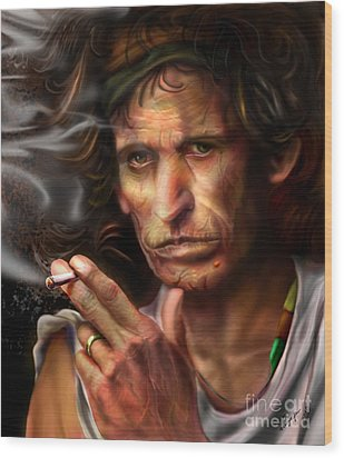 Keith Richards1-burning Lights 4 Wood Print by Reggie Duffie