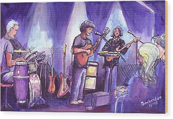 Wood Print featuring the painting Keller And His Compadres by David Sockrider