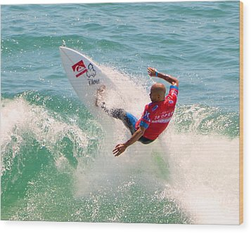 Kelly Slater Us Open Of Surfing 2012     3 Wood Print by Jason Waugh