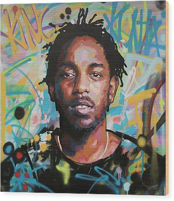 Wood Print featuring the painting Kendrick Lamar by Richard Day