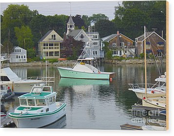 Kennebunkport Harbor Wood Print by Alice Mainville