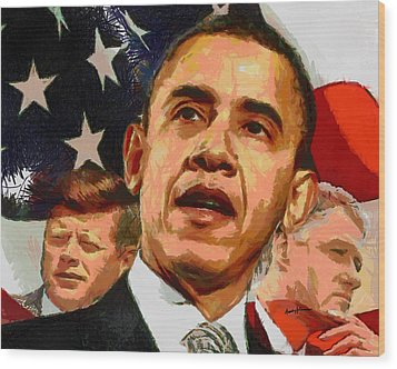 Kennedy-clinton-obama Wood Print by Anthony Caruso