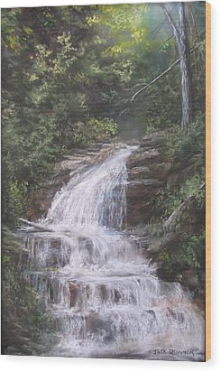 Wood Print featuring the pastel Kent Falls by Jack Skinner