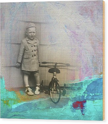 Wood Print featuring the mixed media Kent Tricycle by Nancy Merkle