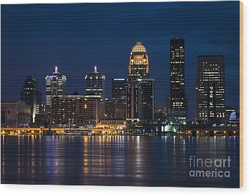Louisville At Night Wood Print