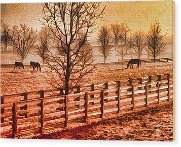 Kentucky Horse Farm  Wood Print by Dennis Cox WorldViews