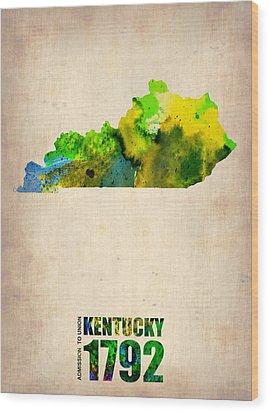 Kentucky Watercolor Map Wood Print by Naxart Studio