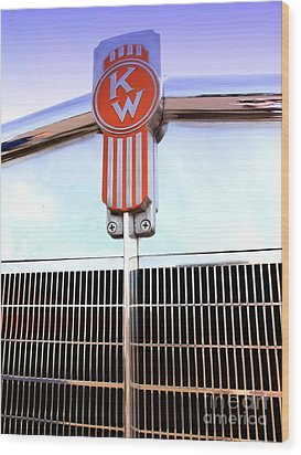 Kenworth Insignia And Grill Wood Print