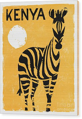 Kenya Africa Vintage Travel Poster Restored Wood Print