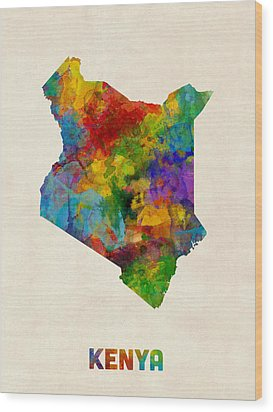 Wood Print featuring the digital art Kenya Watercolor Map by Michael Tompsett
